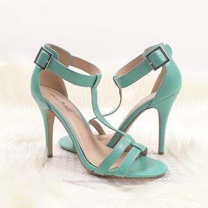 Anne Michelle Enzo 43 Mint T-Strap High Heels